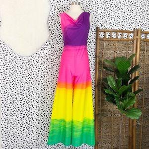 Vintage | Rainbow Ombré Dip Dyed Jumpsuit Romper